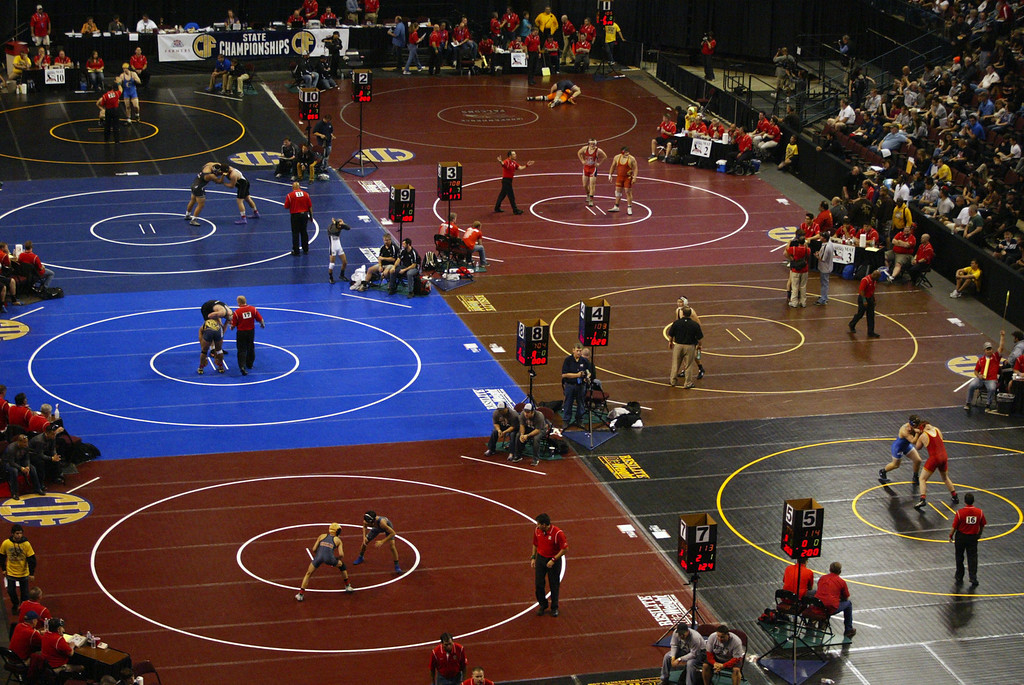 . Opening rounds of the California Interscholastic Federation wrestling championships in Bakersfield, Calif., on Friday, March 1, 2013. (Anda Chu/Staff)