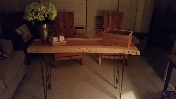 Live edge Cedar table with hairpin legs