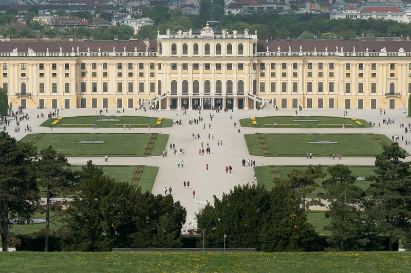 Wide shot of the Schonbrunn Palace - Vienna, Austria