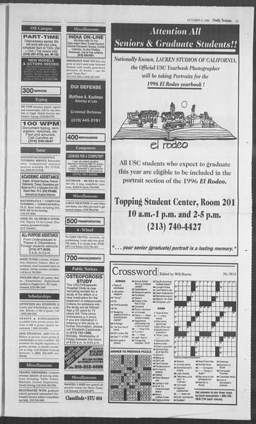 Daily Trojan, Vol. 126, No. 24, October 04, 1995