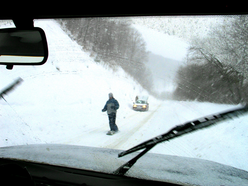 Brezovica Snowboarders on Road.jpg