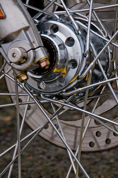 Front wheel spokes of a Harley