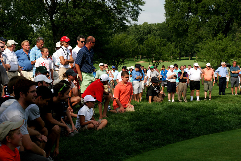 A crowd watches the penultimate hole in Friday's afternoon match between Nos. 1 and 2 ranked Amateur Patrick Cantlay and Peter Uihlein.