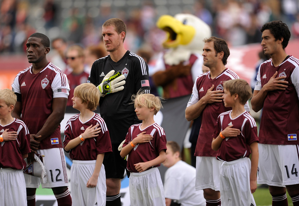 . The Rapids stood for the National Anthem Saturday afternoon. The Colorado Rapids hosted the Portland Timbers Saturday, March 30, 2013 at Dick\'s Sporting Goods Park in Commerce City.  Photo By Karl Gehring/The Denver Post)