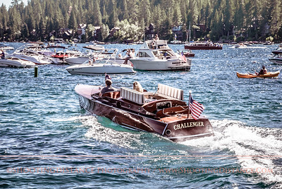 The Challenger speeds out of harbor at Lake Tahoe, Wooden Boat classic, 2011