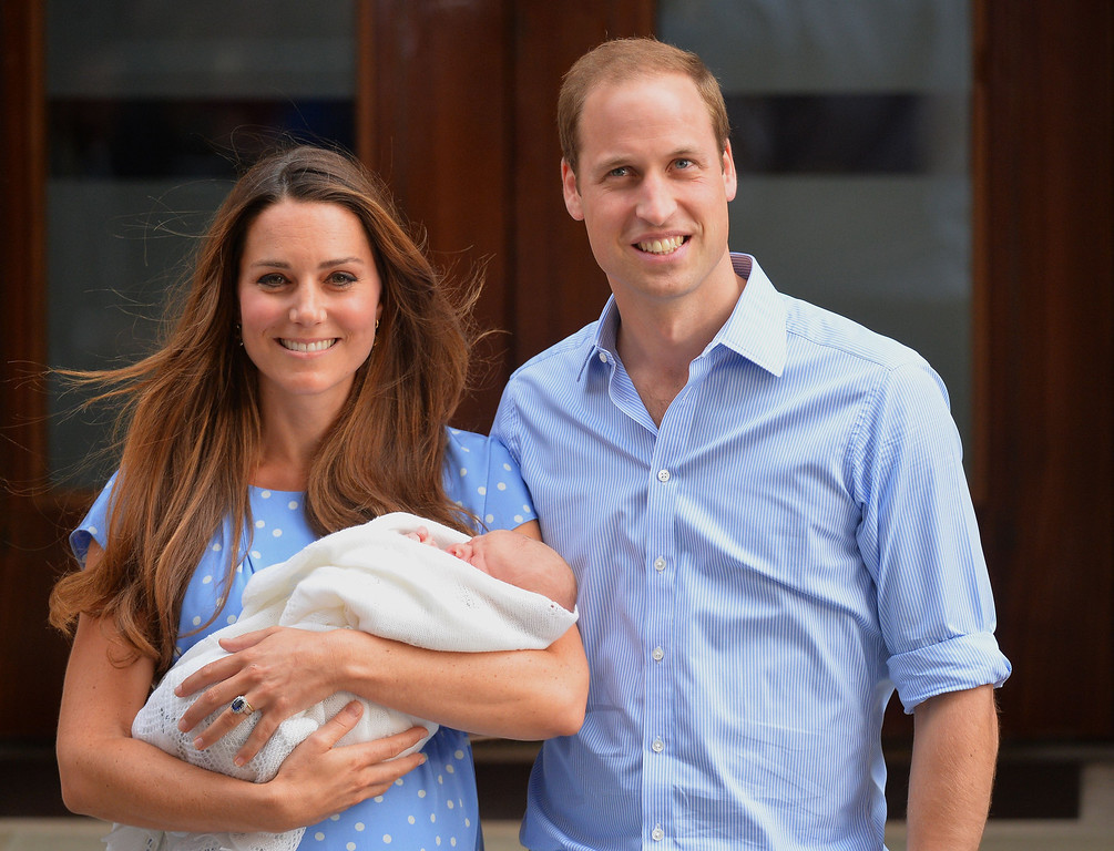 . Prince William and Catherine, Duchess of Cambridge, show their newborn baby boy to the world\'s media, while standing on the steps outside   St Mary\'s Hospital in London on July 23, 2013. The baby was born on Monday afternoon weighing eight pounds six ounces (3.8 kilogrammes). The baby, titled His Royal Highness, Prince of Cambridge, is directly in line to inherit the throne after Charles, Queen Elizabeth II\'s eldest son and heir, and his eldest son William.   LEON NEAL AFP/Getty Images