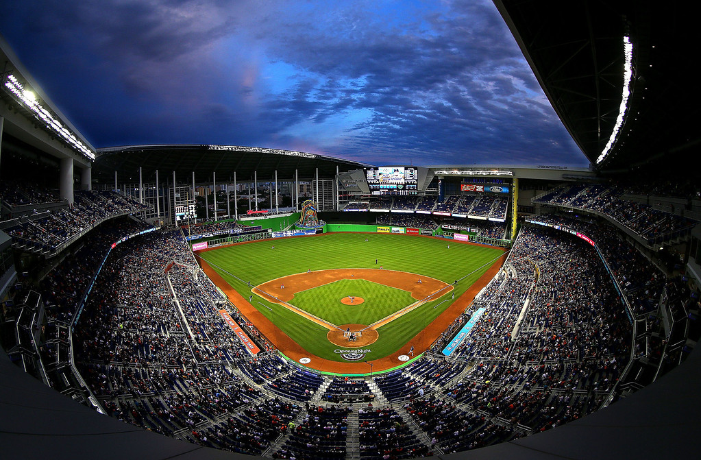 . A general view of Marlins Park during Opening Day  at Marlins Park between the Miami Marlins and the Colorado Rockies on March 31, 2014 in Miami, Florida.  (Photo by Mike Ehrmann/Getty Images)