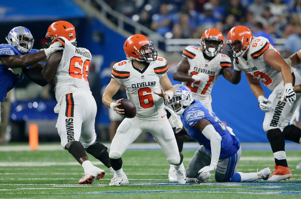 . Cleveland Browns quarterback Baker Mayfield (6) looks downfield during the first half of an NFL football preseason game against the Detroit Lions, Thursday, Aug. 30, 2018, in Detroit. (AP Photo/Duane Burleson)