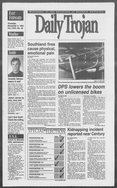 Daily Trojan, Vol. 121, No. 46, November 04, 1993