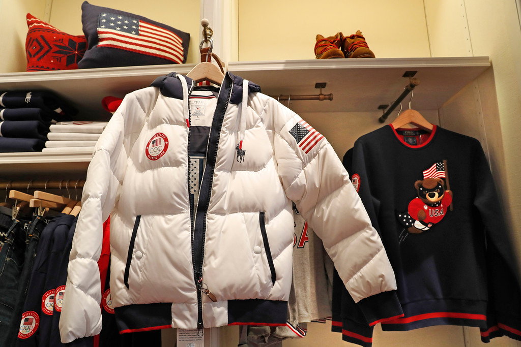 . Team USA\'s closing ceremony parka, which features a battery-powered, built-in heating element that can be adjusted by a cell phone, is displayed at Polo Ralph Lauren\'s Prince Street store, Monday, Jan. 22, 2018, in New York. (AP Photo/Kathy Willens)