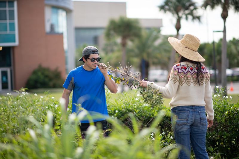 Joel Dominguez (left) and Sofia Gonzalez volunteer at the Islander ECDC Garden.