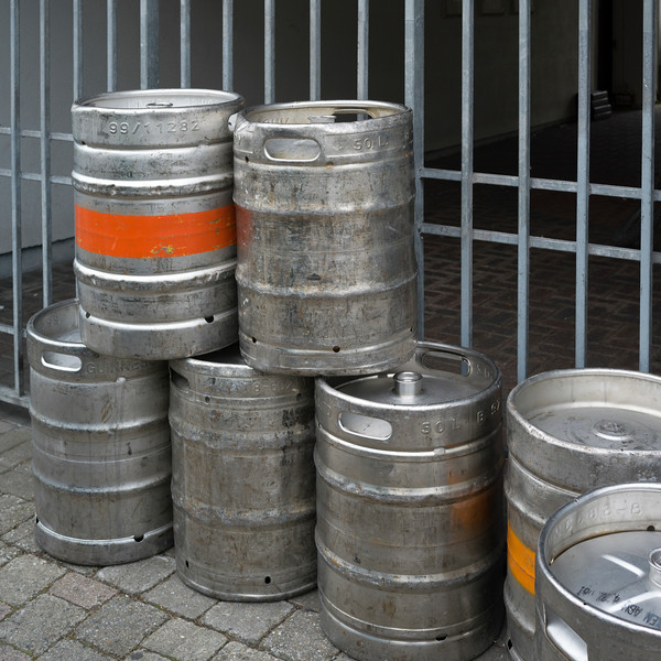 Close-up of beer kegs, Newport, County Mayo, Republic of Ireland