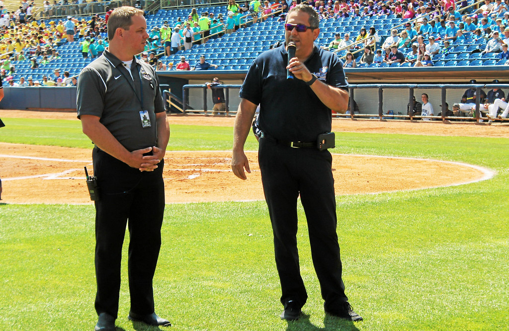 . Kristi Garabrandt � The News-Herald <br> Eastlake Mayor Dennis Morley with Lake County Captains\' General Manager Neil Stein, talks about the Miracle League of Lake County during the June 28, 2017 Lake County Captains game.