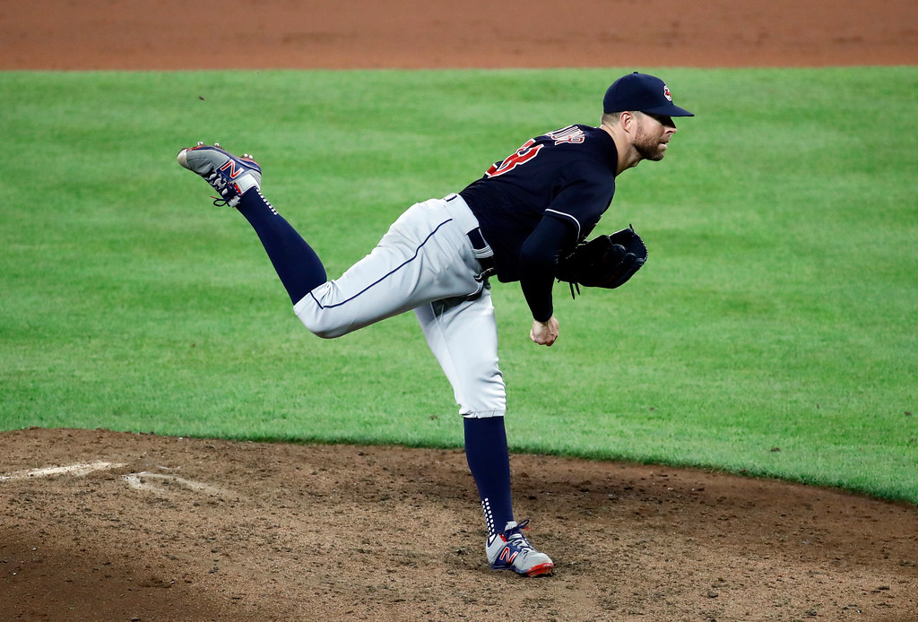 . Cleveland Indians starting pitcher Corey Kluber throws to the Baltimore Orioles during a baseball game in Baltimore, Monday, June 19, 2017. (AP Photo/Patrick Semansky)
