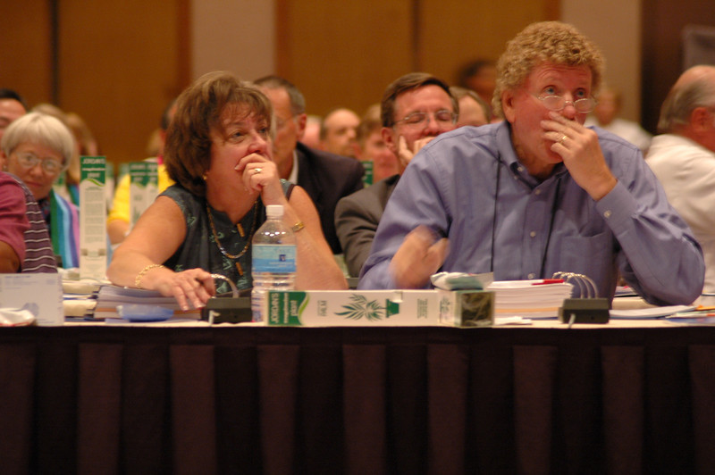 Voting members from the North Carolina Synod, Faith Ashton and Synod Bishop Leonard Bolick, during Plenary Session One.