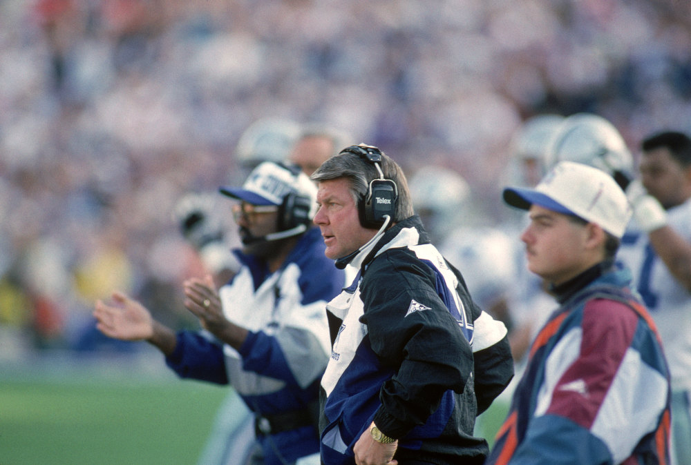 . Dallas Cowboys head coach Jimmy Johnson watches the action from the sidelines during Super Bowl XXVII against the Buffalo Bills at the Rose Bowl on January 31, 1993 in Pasadena, California.  The Cowboys won 52-17.  (Photo by George Rose/Getty Images)