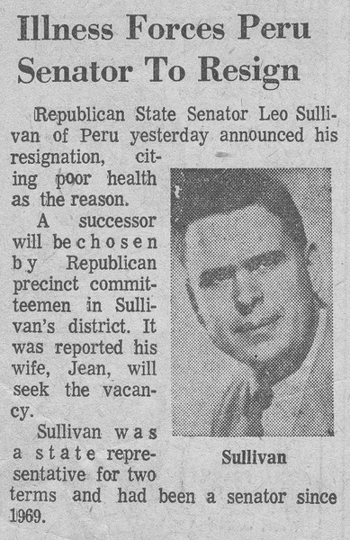 Newspaper Clipping - Leo Sullivan resigns from Indiana Senate.jpg