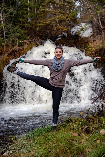 Sarah Yoga poses at Topsail Waterfall