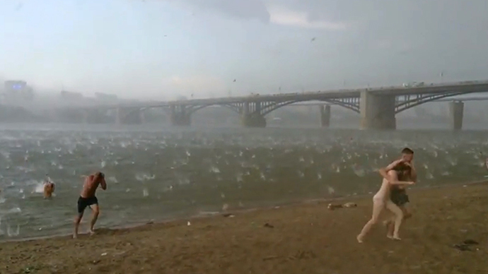 ". 6. HAIL <p>That�ll teach people not to sunbathe in Siberia. (3) </p><p><b><a href=""http://www.dailymail.co.uk/news/article-2691237/It-attack-heavens-The-shocking-moment-Siberian-beach-hit-freak-hailstorm-one-hottest-days-summer.html\"" target=\""_blank\""> LINK </a></b> </p><p>   (Screen grab from YouTube)</p>"