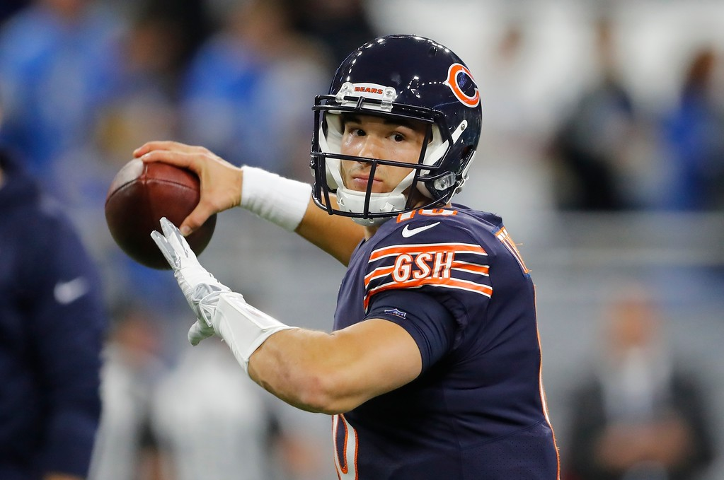 . Chicago Bears quarterback Mitchell Trubisky warms up during pregame of an NFL football game against the Detroit Lions, Saturday, Dec. 16, 2017, in Detroit. (AP Photo/Paul Sancya)