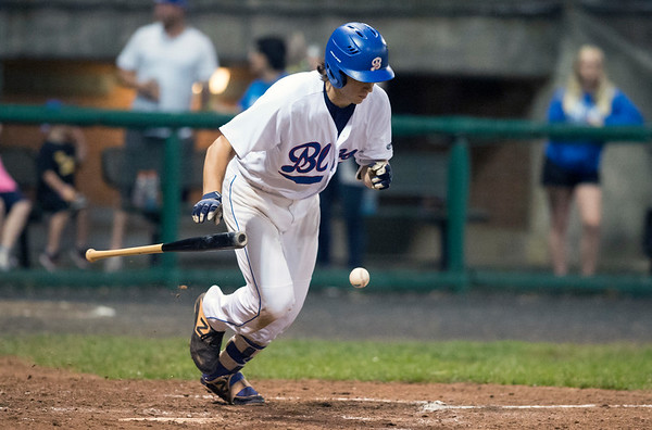 06/19/19 Wesley Bunnell   Staff The Bristol Blues defeated the North Shore Navigators 7-0 on June 19, 2019 at Muzzy Field. Zeke Diamond (18) is unable to lay down the bunt attempt.