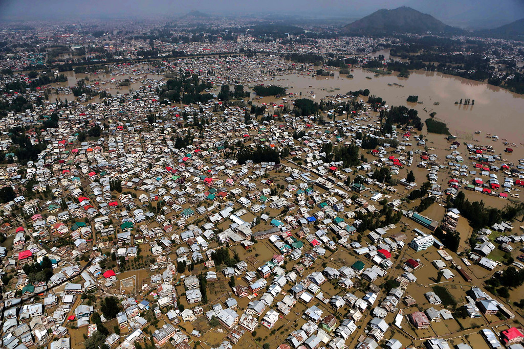 . This aerial photo shows  buildings partially submerged in Srinagar, Indian-controlled Kashmir, Wednesday, Sept.10, 2014. (AP Photo/Dar Yasin)