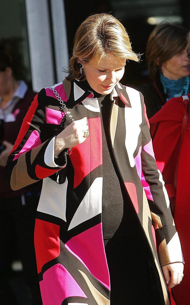 Description of . Belgium's Princess Mathilde attends an information day on breast cancer for immigrant women on February 16 2008 in the Elzenveld Cultural Conference Center in Antwerp. Princess Mathilde, wife of Crownprince Philippe, is pregnant with her fourth child. LIEVEN VAN ASSCHE/AFP/Getty Images