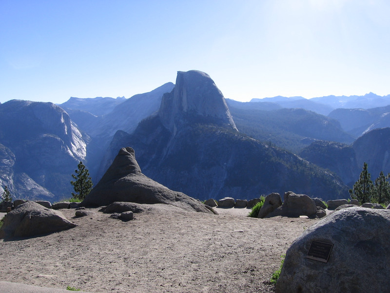 View of Half Dome and points East, from Glacier Point where I started my hike on July 4, 2007.