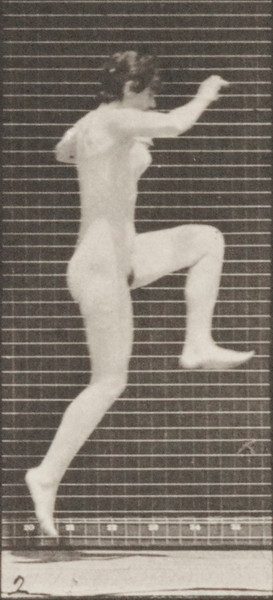 Nude woman jumping, running straight high jump
