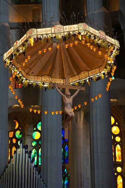 A view above the alter at La Sagrada Família.
