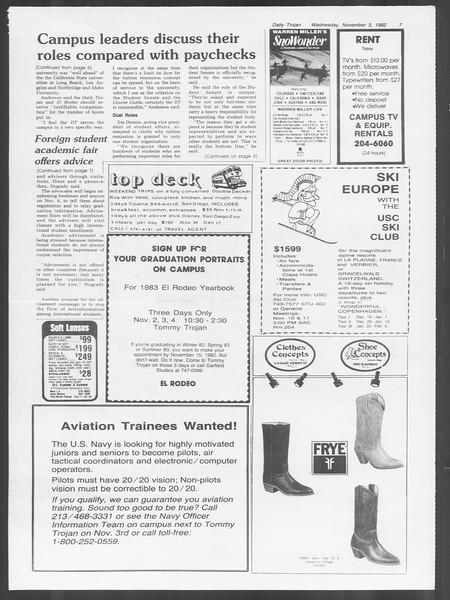 Daily Trojan, Vol. 92, No. 41, November 03, 1982