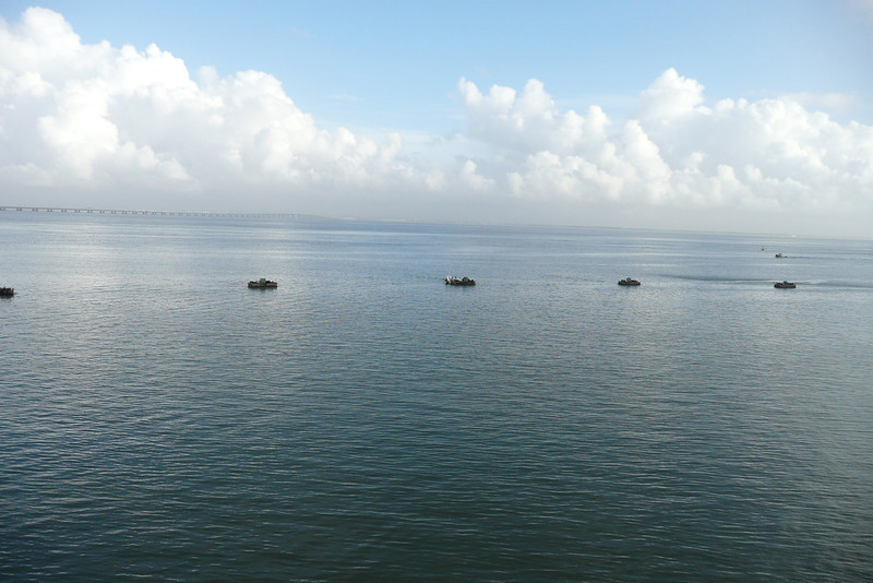 Rafts on Rio Tejo. Lisbon