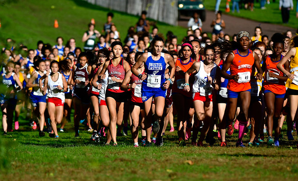 10/16/2018 Mike Orazzi | Staff The start of the girl's race during the CCC Conference Cross Country Championships in Manchester's Wickham Park Tuesday.