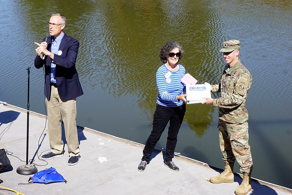 Mayor Teresa Barrett's  presentation of petitions to the U.S. Army Corps of Engineers