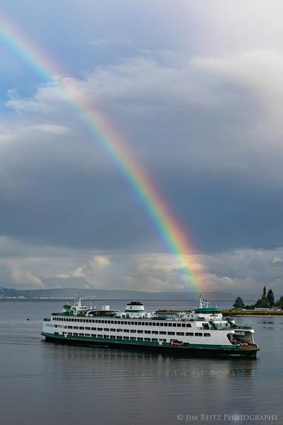 Ferry & rainbow - Bainbridge Island