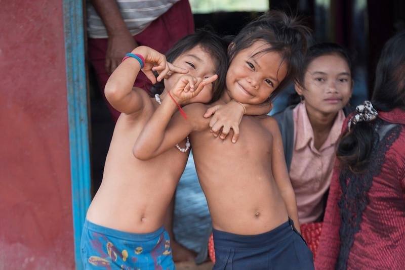 Portrait of children gesturing, Siem Reap, Cambodia