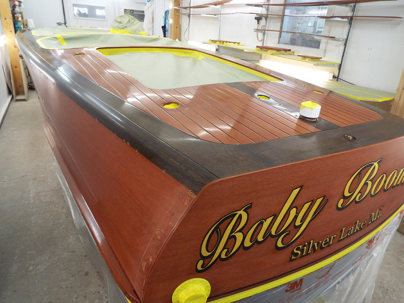 Rear view of the boat ready for varnish.