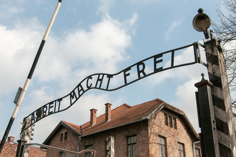 Entrance gate to Auschwitz Birkenau in Krakow, Poland