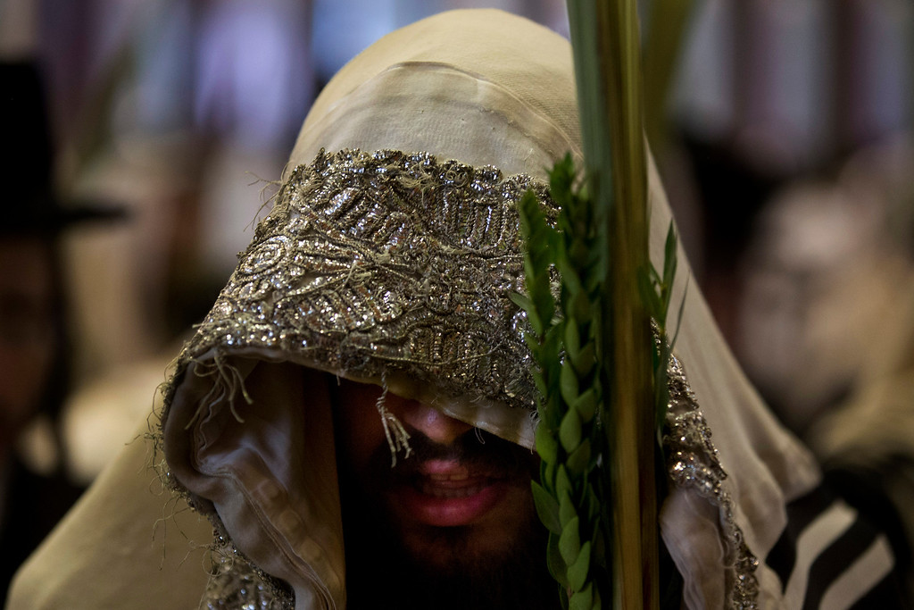 . An ultra-Orthodox Jewish man attends a Sukkot prayer at the Belz yeshiva during the Jewish holiday of Sukkot in Jerusalem, Wednesday, Sept. 25, 2013. The holiday commemorates the biblical story of the Israelites 40 years of wandering in the desert. (AP Photo/Bernat Armangue)