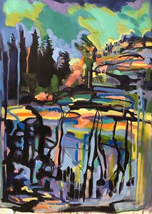 """""""Summer's Plateau"""" (oil, acrylic, and charcoal on canvas) by Hartini Gibson"""