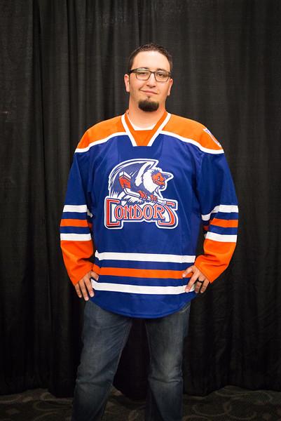 Season member Joel Ramirez shows off one of the new Bakersfield Condors Jerseys