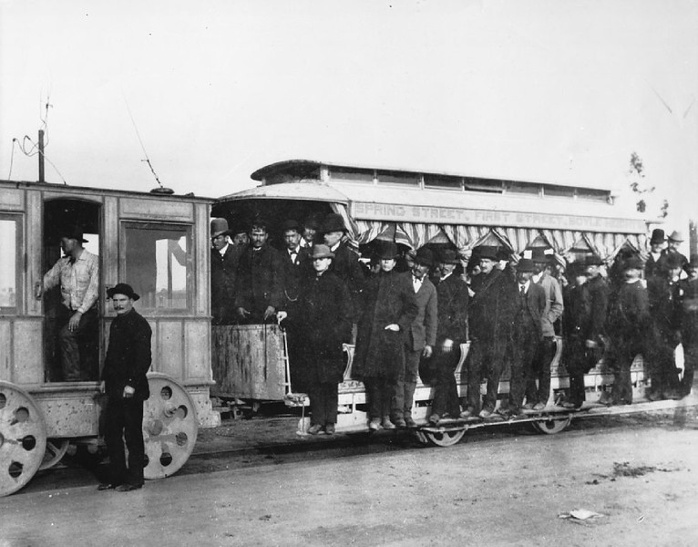 First electric railroad in Los Angeles, ca.1886-1887