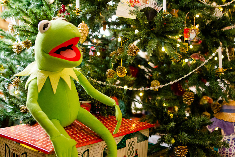 . What\'s Christmas without your favorite green muppet? Even Kermit makes an appearance at the Governor\'s mansion holiday decorations. Photo by Mark Broste