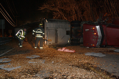 Overturned Tractor Tractor Trailer, SR54, Ryan Township, Barnesville (11-18-2011)