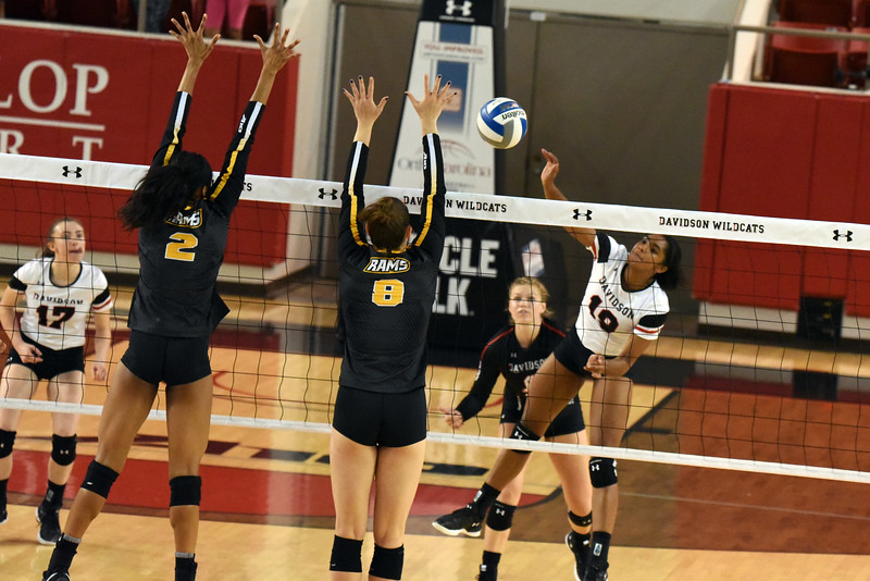 Davidson senior Ciera Cockrill goes for a kill against the VCU Rams. VCU defeated the 'Cats in the Saturday evening matchup.