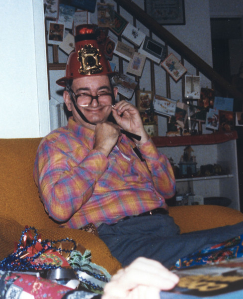 1985 Dad's new fireman's helmet