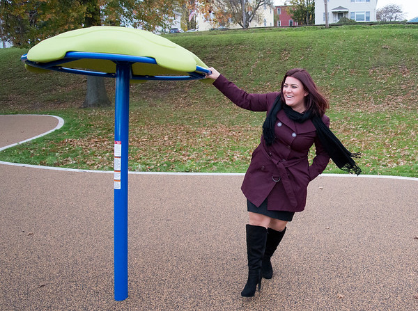11/04/19 Wesley Bunnell | StaffrrA ribbon cutting was held at Chesley Park celebrating the completion of the Phase 2 renovation project. Mayor Erin Stewart walks around one of the spinning pieces of equipment.