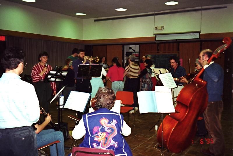 January 6, 1995.  David Schonfeld, left, on clarinet, (Sharon? seated, playing clarinet), Andrea, Ken, Henry Speno (sax),  Miriam Leader (violin), Joe, and Sabina (cello).