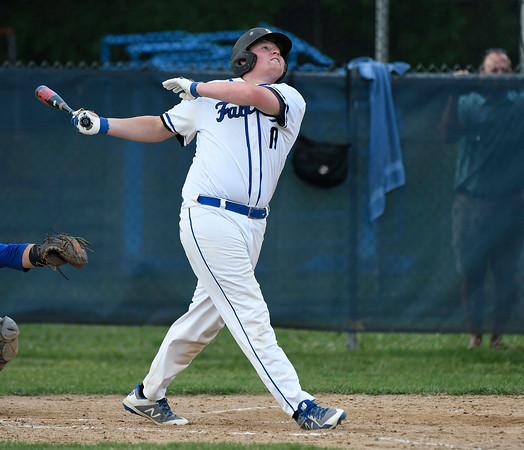 5/29/2018 Mike Orazzi | Staff St. Paul's Ryan Parent (19) during Tuesday's Class S First Round baseball game with Housatonic Regional in Bristol.