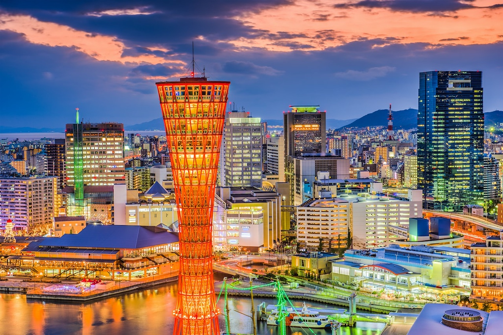 Kobe port and skyline